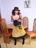 Hot mature lady dresses up in Red Indian style and strips off for more sexual fun!
