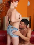 Red-haired mommy in sexy lacy boots impales her juicy hole on a rock-hard cock