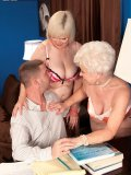 Two old yet beautiful grannies show young guy they are still really good in bed
