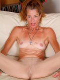 Skinny oldie Courtney shows her body browned by the burning hot California sun