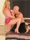 A gorgeous blonde BBW gets her pink cunt fucked and her jiggly tits slammed