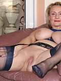 Beautiful Michelle showing off in a blue outfit and giving her husband a hot blowjob