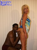 Horny blonde babe lets a well hung black guy to drill her eager pussy with his massive cock