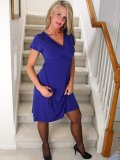Pretty blonde lady loves the floor mat on her staircase and decides to have some fun there!