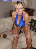MILF babe acting out a playful busty cheerleader rams a football into her snatch