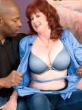 Mature redhead plumper gets pumped by a hung black dude with a granny fetish
