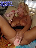 Slutty busty blonde loves to play with two enormous dildos in her wet pussy at the same time