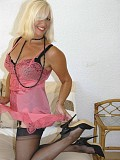 Gorgeous blonde housewife loves to flaunt her body in amazingly sexy stockings