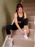Juicy mom takes her tight clothes off after jogging right on her flat's stairway