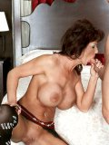 Old busty porn star Deauxma shows her fuckmate what good cocksucking skills are