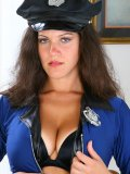 Pretty lady dresses up in police costume and she is going to show you how much she likes the stick!
