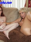 Two moms throw real brutal dildoing contest fucking themselves raw with XL toys