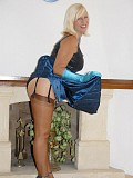 Incredibly hot pictures of hot milf bending over in stockings to show her hot ass