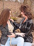 Two lesbians go have some fun by licking each other in the middle of the woods