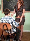 Sexy teacher seduces her student and enjoys the young penis pushing into her hole!