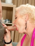 Busty granny with pierced clit ends up getting her ass drilled by a younger dude