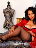 Red-and-black underwear makes curvaceous Latin mommy Danica plain irresistible