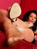 Stacked Latin mom Danica uncovers her juggies and shows her delicate feet off