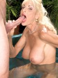 Horny lady in her bikini enjoys sexual party by the swimming pool! Wonder how exciting it is?