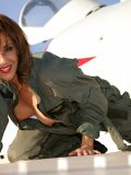 Incredible pictures of a wild Roni posing as a sexy pilot babe in nylons