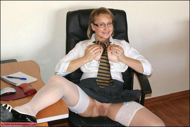 Busty Secretary Glasses Stockings