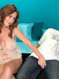 Round and big brunette cougar gives a tender blowjob to her younger lover