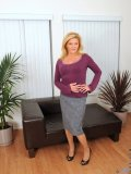 Hot mom in office clothes takes off all the clothes and enjoys dildo on the sofa with satisfaction!