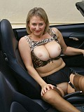 Incredibly hot pictures of a mature blonde flashing her amazing cunt in the car