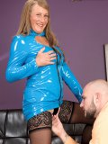 This plump whore knows that there is no age to get kinky with tight latex suits