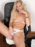 Seductive office lady strips nude and teases her horny pussy on her office chair!