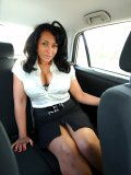 The backseat of a spacious car is like a strip club stage for busty mom Danica