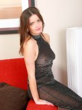 Mature brunette shows everything that was concealed under her see-through outfit