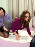 Librarian-looking MILF gets railed by two dudes in an interracial threesome