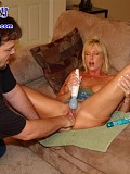 Crazy blonde bitch Alysha makes her lover shove his foot and then both his fists deep inside her eager cunt