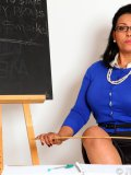 Strict Latin babe Danica gives in to her naughtiness and shows her body in class