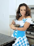 Hot lady is baking and then she strips to expose her delicious breasts and cunt!