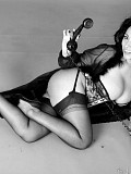 Amazing black and white pictures of a sassy Danica flashing her pussy while on the phone