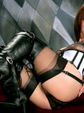 Gorgeous brunette milf in knee high boots getting crazy with an enormous red dildo