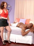 Well-endowed black guy fucks the shit out of his mature masseuse's soaking twat
