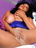 Kinky brunette Danica teases by exposing her cunt under her see through nylons
