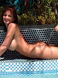 Stunning and horny cougar strips to play around and tease in the pool