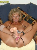Crazy blonde Alysha can't get enough of gigantic dildos inside her eager pussy