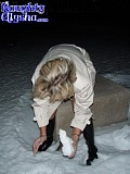 Crazy blonde bitch Alysha makes a dildo out of snow and fucks herself in the middle of a snowy field