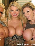 A smoking hot trio of busty bitches get together to compare their huge tits