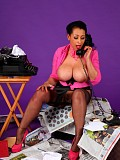 Naughty brunette secretary Danica loves to play with her giant boobs when no one's watching