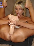 Incredible pictures of hot blonde's stretching pussy that manages to swallow the thickest dildo you've ever seen